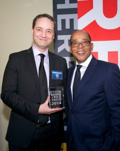 Laurent Tonnelier, mobiLead CEO, with Alex Vieux at 2014 Red Herring 100 Europe award ceremony in Amsterdam.